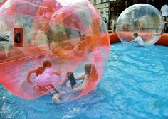 The water ball, a close relative of the zorb ball. Read more about water balls on http://www.zorbingtime.com/water-ball/