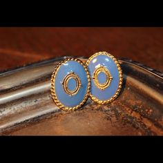 Vintage blue and gold earrings Blue and Gold color Vintage Stud Earrings! stunning earrings!  mint condition Vintage Jewelry Earrings