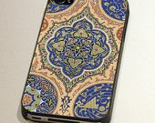 iPhone Case or Cover (4 and 4s) - Black or White Edges - Vintage Islamic Motif.