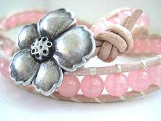 Pastel Pink Malaysia Jade Tan Leather Double by JulieEllynDesigns, $36.00