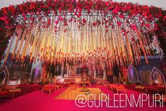 Blessings showering down ❤️❤️Wedding Decor Design by Gurleen M Puri . Telugu Wedding, Wedding Mandap, Tent Wedding, Wedding Table, Wedding Events, Wedding Hall Decorations, Flower Decorations, Table Decorations, Wedding Planners In Mumbai