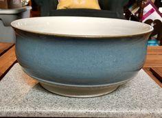 Vintage Blue Denby Castile Pottery Stoneware Pedestal Serving Bowl #Denby