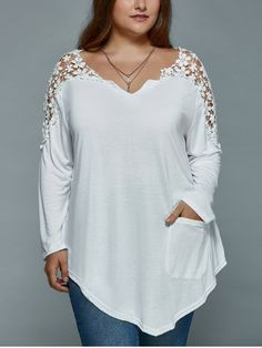 GET $50 NOW | Join RoseGal: Get YOUR $50 NOW!http://www.rosegal.com/plus-size-tops/plus-size-lace-spliced-asymmetric-729173.html?seid=6807359rg729173