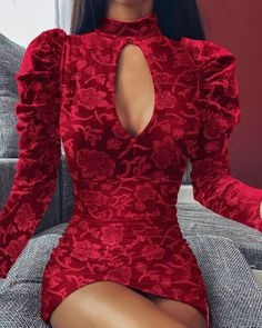 Women Long Sleeve Velvet Dress Mock Neck Embroidery Keyhole Mini Dress Sexy Red Floral Bodycon Party Dresses Winter 2019 Vestido, Red / S Cute Dresses, Short Dresses, Girls Dresses, Party Dresses, Pageant Dresses, Dress Party, Beautiful Dresses, Glamouröse Outfits, Skater Outfits
