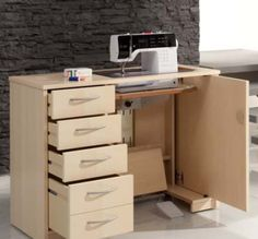 Sewing Room Organization, Sewing Table, Machine Design, Sewing Rooms, Tiny Living, Sewing Hacks, Filing Cabinet, Decoration, House Plans