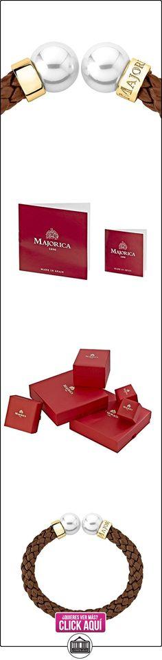 Majorica - Brazalete de cuero marrón, perlas blancas redondas 14 mm  ✿ Joyas para niñas - Regalos ✿ ▬► Ver oferta: https://comprar.io/goto/B00NB0G758