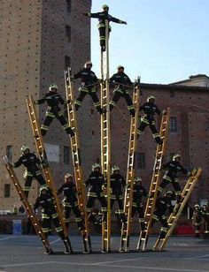 Firefighter ladder formation | Shared by LION