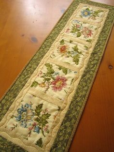 Handmade Quilted Table Runner Floral Squares