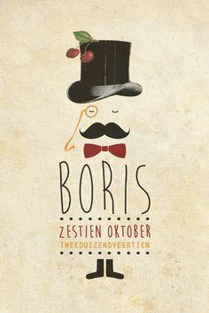 Geboortekaartje jongen - Boris - leuke vintage kaart met een mannetje met hoed en snor - Pimpelpluis - https://www.facebook.com/pages/Pimpelpluis/188675421305550?ref=hl (# vintage - retro - hoed - hipster - snor - moncle - bril - kers - strik - origineel)