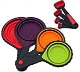 #7: Collapsible portable Silicone Measuring Cups & Spoons 8-Piece Set Folding Great for Traveling Outdoor Camping and Pet food Scoops