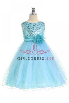 Gorgeous Aqua Sequined Round Neck Tulle Overlaid Girl Dress