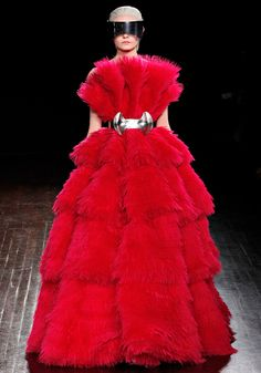 cascading, swirling, outsize pink blooms made of organza and feather :: VALENTINO fall 2012