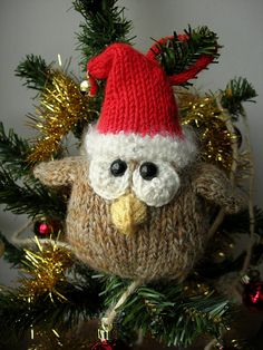 DIY Christmas Owl Amigurumi Ornament - FREE Knit Crochet Pattern / Tutorial