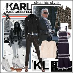"""""""Steal His Style: Karl Lagerfeld"""" by fashiontake-out ❤ liked on Polyvore"""