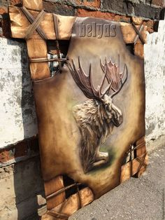 "Leather Wall Art ""Elk"" by White Ash tree - # Leather Work Bag, Leather Wall, Leather Craft, White Ash Tree, Mural Art, Wall Art, Leather Workshop, Nativity Crafts, Leather Carving"