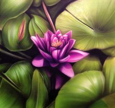 Lotus flower airbrush painting on canvas