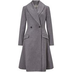 Somerset by Alice Temperley Fit And Flare Coat , Grey (1.575 RON) ❤ liked on Polyvore featuring outerwear, coats, grey, long sleeve shawl, long coat, gray shawl, grey coat and long sleeve coat
