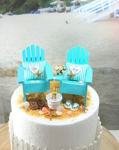 Beach Wedding Topper Fits 6 Cake Top. Rustic by Memoriesnminiature