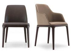 Gepolsterter Stuhl aus Leder GRACE | Stuhl aus Leder - Poliform
