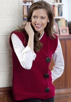 Side Buttoned Vest Free Knitting Pattern from Red Heart Yarns. - Crochet and Knit Free Knitting Patterns For Women, Knitting Designs, Knitting Stitches, Beginner Knit Scarf, Knit Vest Pattern, Red Heart Yarn, Madame, Knit Crochet, Sweaters For Women
