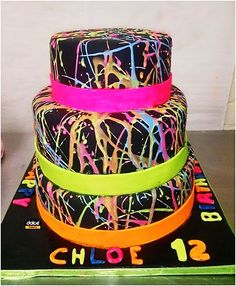 3 Tier Glow In The Dark Splatter Cake For A 12 Year Old Girl Who Loves Things
