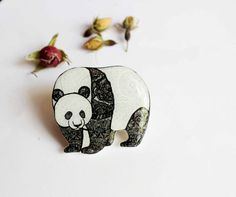 FREE SHIPPING Panda Brooch Broach Pin For Panda Bear Lovers For Animal Lovers For Wild Animal Lovers Woodland Jewellery Woodland Jewelry