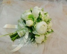 Sweet Wedding Bouquet Arranged With: White Peonies, Green Hydrangea, Lisianthus Buds, Greenery