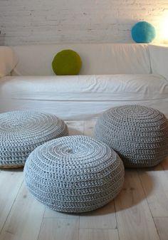 Floor Cushion Crochet  silver gray by lacasadecoto on Etsy, €48.00