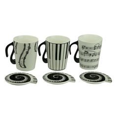 Music Notes Piano Ceramic With Cover Fancy Cup