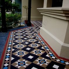 Olde English Tiles' gorgeous tessellated tiled floors can revitalise and transform a tired verandah into a spectacular, welcoming entrance to your home. Ceramic Design, Tile Design, Porch Tile, Front Path, Arch Interior, Outdoor Tiles, Door Steps, Magnolia Homes, House Colors