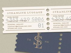 Working on business cards and stationary for Steamline - vintage inspired luggage brand. The idea here is that the biz cards will be printed in a line and perfed, so that you tare them apart like o. Unique Business Cards, Business Card Design, Business Style, Typography Design, Branding Design, Lettering, Graphic Design Layouts, Graphic Design Inspiration, Tamara