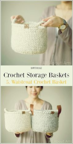 Storage Basket Free Crochet Patterns Waistcoat Crochet Basket Free Pattern – Storage Free Patterns – make your own basket – crochet ideas – storage ideas Related posts:How I pin for a living. Gilet Crochet, Knit Or Crochet, Free Crochet, Crochet Waistcoat, Crochet Pillow, Crochet Afghans, Crochet Braids, Free Knitting, Crochet Stitches