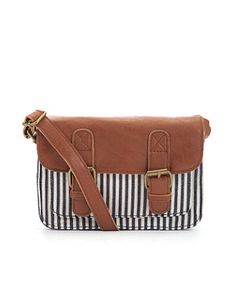 White Pattern (White) Blue and White Striped Across Body Bag | 243261319 | New Look