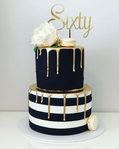 Super classy gold black and white on this cake by sweetcakesamanda complete with gold mirror cake topper that we made Reposting sweetcakesamanda: .That gold drip Gorgeous topper by footeandflame quot; 60th Birthday Cake For Men, Golden Birthday Cakes, White Birthday Cakes, Birthday Ideas, Elegant Birthday Cakes, 50th Birthday Decorations, 40th Cake, Wife Birthday, Birthday Quotes