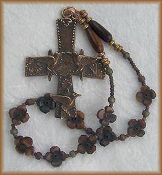 still stone and moss, prayer bead art: Small Things variation ii Bone, Horn and Bronze 10-Bead Handmade Chaplet