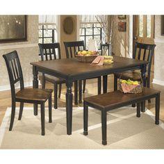 Owingsville 6-Piece Dining Set in Black and Brown   Nebraska Furniture Mart