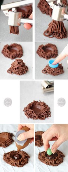 Chocolate biscuit nests