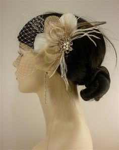 Bridal Feather Fascinator with Brooch, Bridal Fascinator, Wedding Hair Accessories, Fascinator, Hair Clip, Bridal Veil, Ivory and Champagne. $68.00, via Etsy.