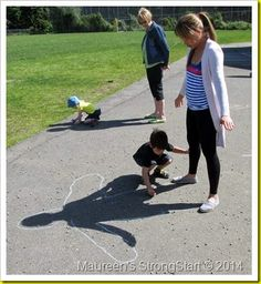 """Yesterday we spent some time outside playing with shadows. We started by reading """"The Black Rabbit"""" b."""