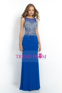2015 Scoop Sheath Dark Royal Blue Prom Dresses Beaded Tulle Bodice With Long Chiffon Skirt