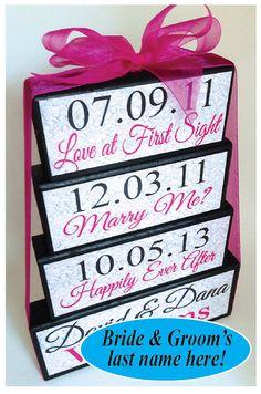 Wedding Centerpiece - Special Dates Sign - Pink Wedding - Shower Keepsake- Custom - Personalized on Etsy, $28.50