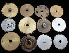 12 Antique Vintage Clock Watch Parts Cogs by amystevensoriginals, $10.99