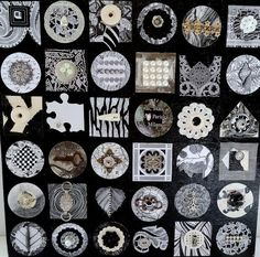 BLOW OUT SALE: Black And White Grid Block by ChristineGraf on Etsy