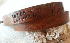 Hey, I found this really awesome Etsy listing at https://www.etsy.com/listing/158440015/latitude-longitude-leather-bracelet-with