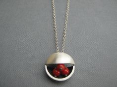 Red Coral Circle Silver Deco Pendant Necklace