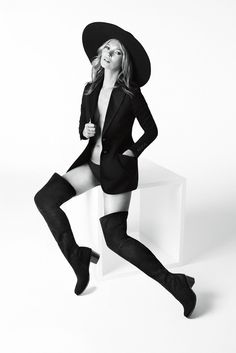 Kate Moss in @Stuart Weitzman Hitest over the knee boots (want!)