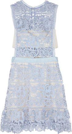 Self-Portrait Guipure Lace Mini Dress blue lace dress Short Summer Dresses, Short Lace Dress, Floral Lace Dress, Trendy Dresses, Dress Summer, Floral Dresses, Short Skirts, Mini Skirts, Lace