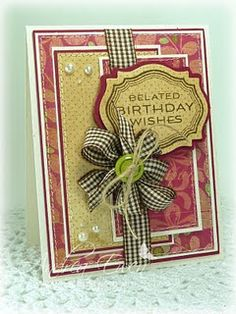 lots of layers, wrapped up like a present with a bow; handmade card