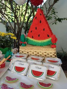 Perfect for summer - a watermelon birthday party! See more party ideas at CatchMyParty.com!