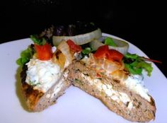 Low Carb Greek Stuffed Burger Recipe / #lowcarb shared on https://facebook.com/lowcarbzen